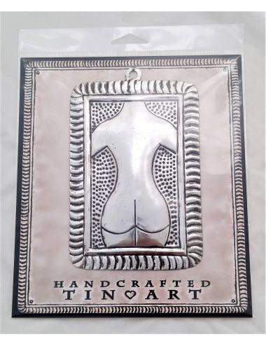 Porte carte mural metal zinc et bois madam stoltz h55x25cm for Porte carte postale mural