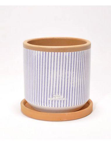 Pot porcelaine tie and dye gris foncé et blanc